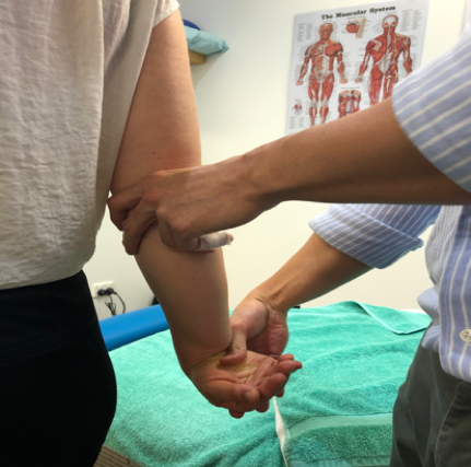 Sydney CBF chiro mills test for tennis elbow pain