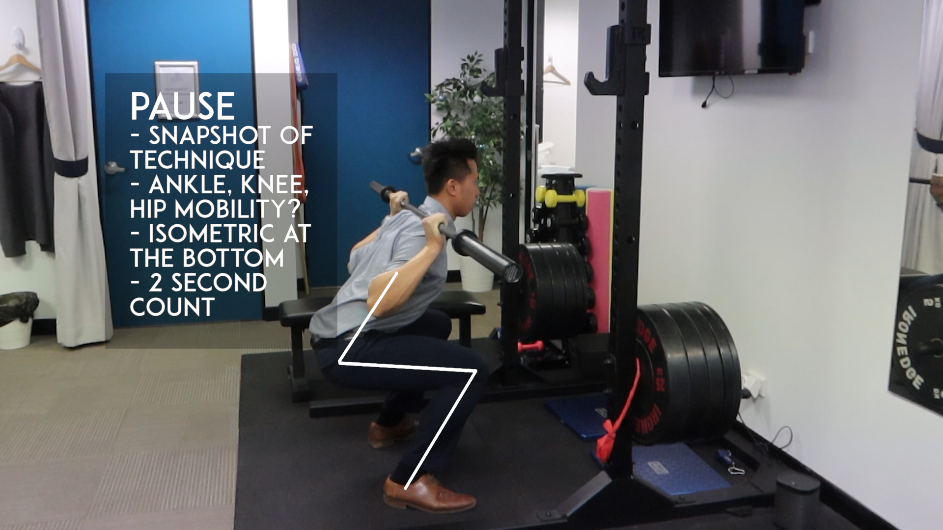 Demonstration bottom of squat movement